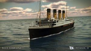 The Titanic II is shown cruising at sea in this rendering.