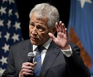 New Defense Secretary Chuck Hagel speaks to service members and civilian employees at the Pentagon, Feb. 27, 2013, after being sworn in.