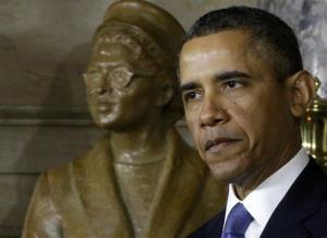 President Obama speaks at the unveiling of a statue of Rosa Parks on Capitol Hill.