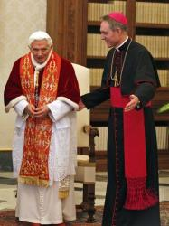 Pope Benedict XVI and personal secretary Georg Gaenswein at the Vatican on Feb. 16.