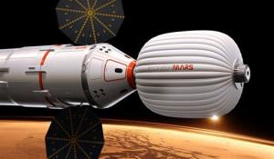 A drawing provided by Inspiration Mars shows an artist's conception of the spacecraft envisioned by the private group.