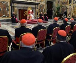 Pope Benedict XVI delivers his message on the occasion of his farewell meeting to cardinals, at the Vatican, Thursday, Feb. 28, 2013.