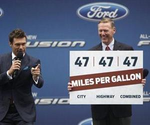 Ford Motor Co. President and CEO Alan Mulally and Ryan Seacrest appear on stage together during an event to promote the 2013 Ford Fusion Hybrid, Sept. 18, 2012 in New York's Times Square.