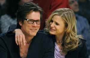 Actors Kevin Bacon and Kyra Sedgwick watch the Los Angeles Lakers and the Houston Rockets play in Los Angeles,Tuesday, May 12, 2009.