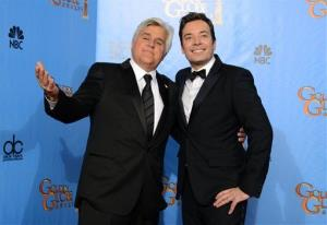 Jimmy Fallon and Jay Leno pose backstage at the 70th Annual Golden Globe Awards on Sunday Jan. 13, 2013, in Beverly Hills, Calif.
