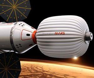 A drawing provided by Inspiration Mars shows an artist's conception of a spacecraft envisioned by the private group, which wants to send a married couple to the red planet, beginning in 2018.