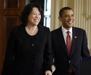 President Barack Obama and new Supreme Court Justice Justice Sonia Sotomayor enter the East Room of the White House in Washington, Wednesday, Aug. 12, 2009.