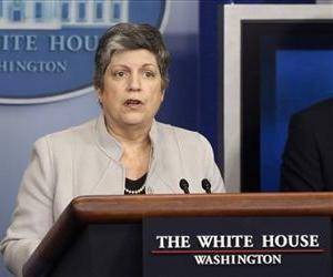 In this Feb. 25, 2013, file photo, Homeland Security Secretary Janet Napolitano briefs reporters  at the White House.
