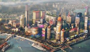 In this mage released by Electronic Arts/Maxis, concept art for a waterfront city is shown for the video game SimCity.