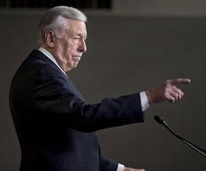 House Minority Whip Rep. Steny Hoyer of Md. gestures during a news conference, Dec. 27, 2012.