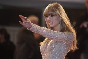 Taylor Swift arrives at the Cannes festival palace in January.