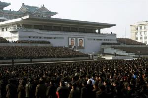 North Koreans attend a rally in support of a statement given on Tuesday by a spokesman for the Supreme Command of the Korean People's Army vowing to cancel the 1953 cease-fire that ended the Korean War as well as boasting of the North's ownership of lighter and smaller nukes and...