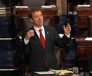 This video frame grab provided by Senate Television shows Sen. Rand Paul, R-Ky. speaking on the floor of the Senate on Capitol Hill, March 6, 2013.