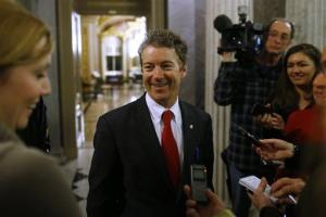 Sen. Rand Paul, R-Ky., leaves the floor of the Senate after his filibuster of the nomination of John Brennan to be CIA director on Capitol Hill in Washington, early Thursday, March 7, 2013. Senate Democrats pushed Wednesday for speedy confirmation of John Brennan's nomination to be CIA director but ran...