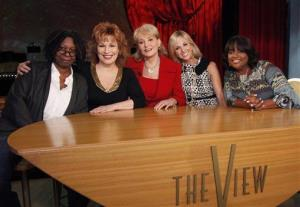 In this Sept. 7, 2010 photo released by ABC, from left, Whoopi Goldberg, Joy Behar, Barbara Walters, Elizabeth Hasselbeck, and Sherri Shepherd pose on the set of their daytime talk show, The View.
