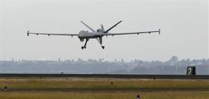 A Predator drone lands at the Naval Air Station in Corpus Christi, Texas.