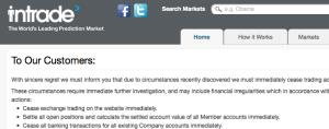 A message on InTrade's website.