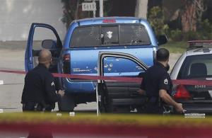 This Feb. 7 file photo shows the SUV that got mistakenly shot up in in Torrance, Calif.