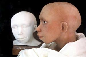 Phases of the reconstruction of a Neanderthal child are seen at the Anthropological Institute of the University Zurich,