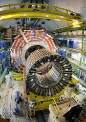 The magnet core of the world's largest superconducting solenoid magnet, one of the experiments preparing to take data at CERN's Large Hadron Collider particle accelerator is seen, near Geneva.