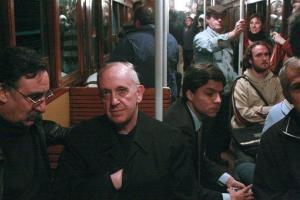 In this 2008 photo, Argentina's Cardinal Jorge Mario Bergoglio -- now Pope Francis -- travels on the subway in Buenos Aires, Argentina.