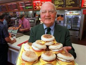 Herb Peterson, the creator of the Egg McMuffin, shows off his invention in this April 1997 file photo.