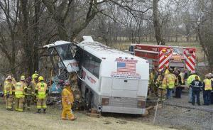 Emergency and rescue crews respond to the scene of a tour bus crash on the Pennsylvania Turnpike on Saturday, March 16, 2013 near Carlisle, Pa.