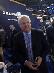 Karl Rove is seen on the floor after an interview at the Democratic National Convention in Charlotte, NC, on Tuesday, Sept. 4, 2012.