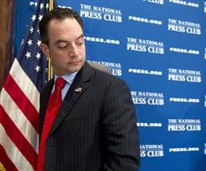 Republican National Committee (RNC) Chairman Reince Priebus leaves after speaking at the National Press Club in Washington, March 18, 2013.