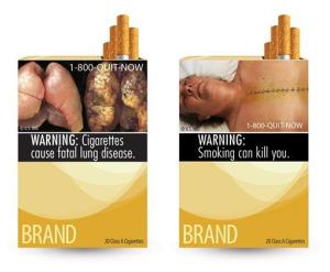 Two of the FDA's nine proposed warning labels.
