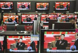 TV sets are displayed at a South Korean store.