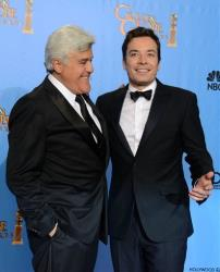 Jay Leno and Jimmy Fallon pose backstage at the 70th Annual Golden Globe Awards in January.