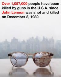 The image of Lennon's glasses tweeted by Yoko Ono.