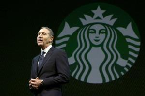 Starbucks CEO Howard Schultz speaks at the company's annual shareholders meeting Wednesday.