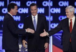 Rick Santorum, Mitt Romney, and Newt Gingrich, at one of the GOP debates.