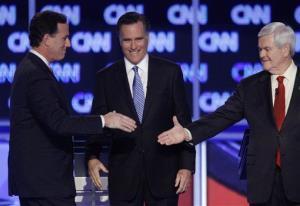 Rick Santorum, Mitt Romney, and Newt Gingrich, at one of the GOP debates.
