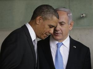 President Obama listens to Israeli Prime Minister Benjamin Netanyahu during their visit to a hospital in Jerusalem, Israel, Friday, March 22, 2013.