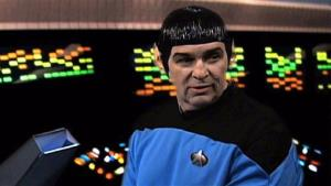 This video image from an Internal Revenue Service video shows an IRS employee portraying Mr. Spock.