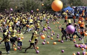 UC Irvine students play dodgeball in an attempt to set the Guinness world record in 2011; this obviously isn't the much smaller NY group.