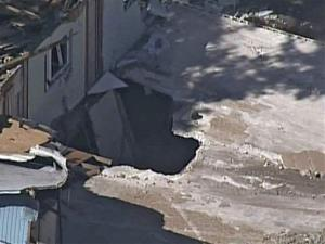 A photo of the first Seffner sinkhole.