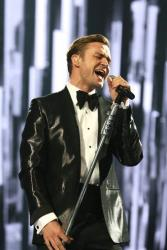 In this Feb. 20, 2013 file photo, Justin Timberlake performs on stage during the BRIT Awards 2013 at the o2 Arena in London.