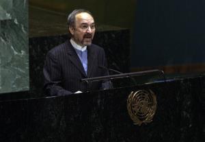 Iran's UN ambassador Mohammad Khazaee addresses the United Nations General Assembly, Tuesday, Nov. 13, 2012.