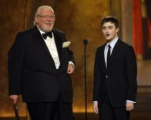 Actors Richard Griffiths, left, and Daniel Radcliffe make a presentation during the 62nd Annual Tony Awards in New York, Sunday, June 15, 2008.
