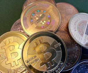 Physical bitcoins are seen in this file photo.