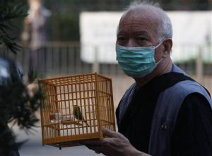 A man holds a cage with bird at a bird market on Thursday, Nov. 18, 2010.