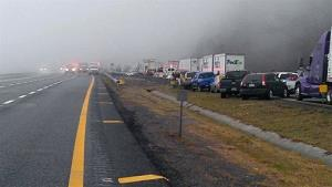 This image provided by WXII Channel 12 news,  shows the scene following a 75-vehicle pileup on Interstate 77 near the Virginia-North Carolina border in Galax, Va., on Sunday, March 31, 2013.