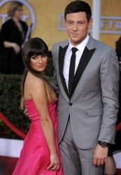 Lea Michele, left, and Cory Monteith arrives at the 19th Annual Screen Actors Guild Awards at the Shrine Auditorium in Los Angeles on Sunday Jan. 27, 2013.