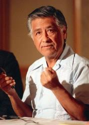 In this March 8, 1989 file photo, Cesar Chavez gestures as he speaks during a news conference in Los Angeles.