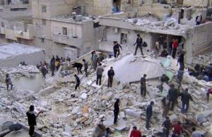 Syrians search for dead bodies amid the rubble of buildings destroyed by a government airstrike in Aleppo last month.