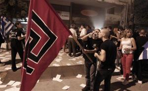 Golden Dawn supporters in Thessaloniki celebrate last year's election results.